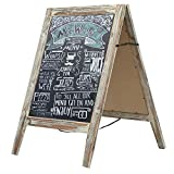 Country Rustic A-Frame Chalkboard Sign Stand, Double-Sided Sidewalk Sandwich Menu Board