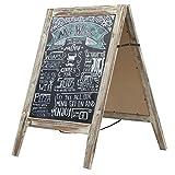 Country Rustic A-Frame Chalkboard Sign Stand, Double-Sided Sidewalk Sandwich Menu Board
