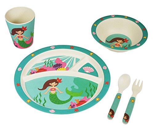 EcoBamboo Ware Kids Bamboo Dinnerware Set with Tumbler, Marina The Mermaid