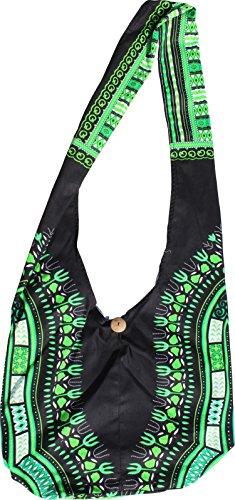 Shoulder Black Dashiki Reversable Green White Bag RaanPahMuang Long Green Monks Strap Pattern qI758C5wx