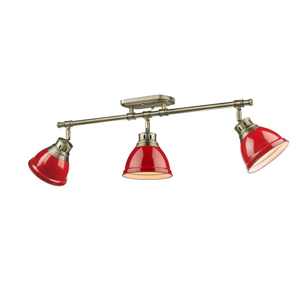 Golden Lighting 3602-3SF AB-RD Three Track Light, Red