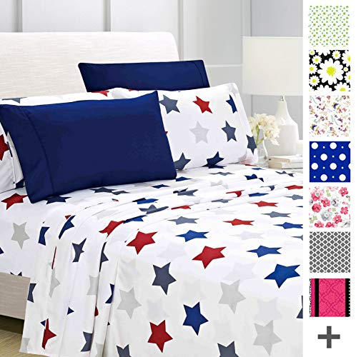 American Home Collection Deluxe 6 Piece Printed Sheet Set of Brushed Fabric, Deep Pocket Wrinkle Resistant - Hypoallergenic (King, Union Stars)