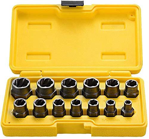 Topec Impact Bolt & Nut Remover Set 13 Pieces, Nut Extractor Socket, Bolt Remover Tool Set