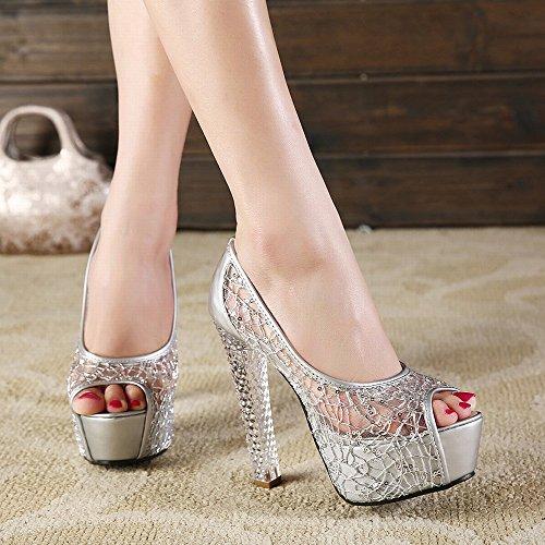 de de Hilado Altos Plata Pescado Verano Cristal Zapatos Neto de SED Tacones con Sandalias Señoras Femeninas Bozal wxUfURq56