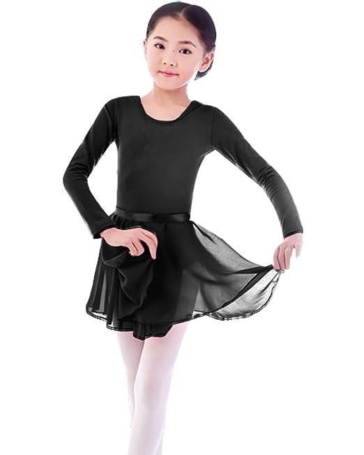 e20795cc4893a Girls' Basic Long Sleeve Leotard Gymnastics Ballet Dance with Wrap-Round  Skirt (Black