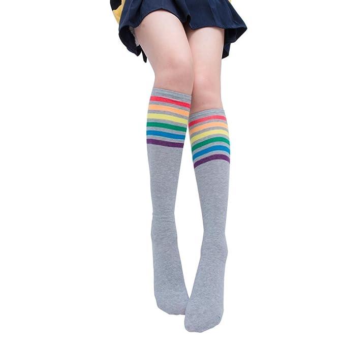 0688ebb02fb64 Saingace 1 Paar Oberschenkel Hohe Socken Über Knie Regenbogen Streifen  Mädchen Fußball Socken Schwarz Weiß