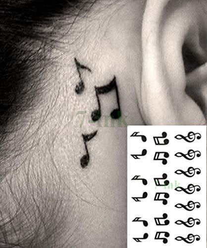 Etiqueta engomada temporal impermeable del tatuaje Nota musical ...