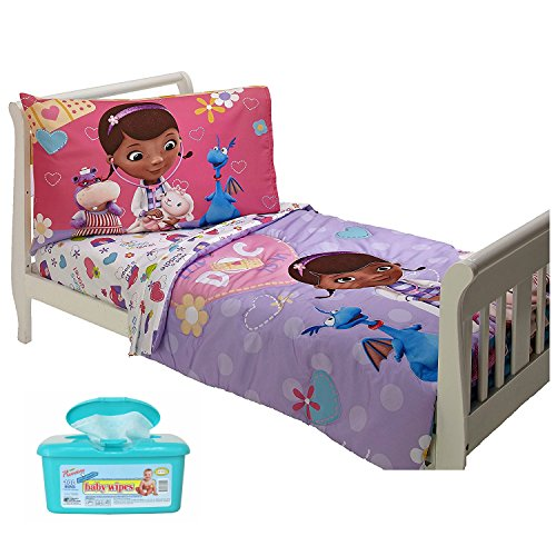 Disney Doc McStuffins 4-Piece Toddler Bedding Set, Made of 100% Polyester Microfiber with Hypoallergenic Baby Wipes (Thomas The Tank Engine Slippers)