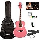Luna Guitars Aurora Borealis Pink Pearl Sparkle 3/4 Size Guitar Bundle with Gig Bag, Tuner, Strap, Pick Sampler and Online Lesson