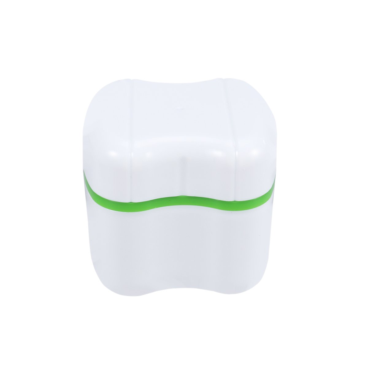 ROSENICE Denture Bath Box False Teeth Storage Container Case with Rinsing Basket (Green)