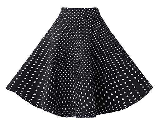 BI.TENCON Women's Vintage Black White Small Polka Dot Swing Casual Cotton Party Full Skirts -
