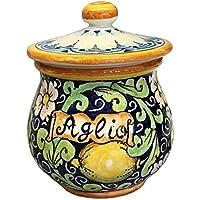 CERAMICHE D'ARTE PARRINI- Italian Ceramic Brings Garlic Jar Holder Hand Painted Decoration Lemons Made in ITALY Tuscan Art Pottery