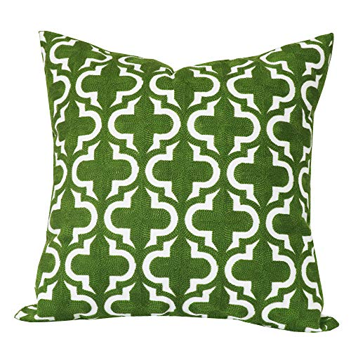 SLOW COW Cotton Embroidery Decorative Throw Pillow Cover Zipper Farmhouse Decorative Pillow Throw Cushion Cover 18x18 Inches Green