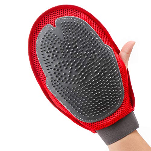EnPoint 2 in 1 Pet Grooming Glove, Furniture Pet Hair Remover Mitt for Dogs Cats with Long & Short Fur, Dual Side Gentle Deshedding Brush with Rubber Tips Massage Tool for Shedding Bathing Combing