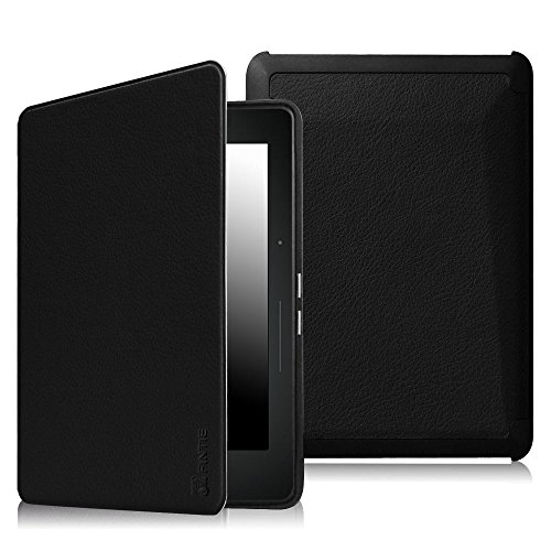 Price comparison product image Fintie SmartShell Case for Kindle Voyage - [The Thinnest and Lightest] Protective PU Leather Cover with Auto Sleep/Wake for Amazon Kindle Voyage (2014), Black