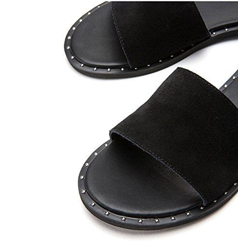Alla Sandali Estivi Basso Piatti A Alti Con 36 Pantofole Donna Tacchi Basso Da Tacco nero Casual Moda Dhg wfqnXgCCx