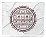 KAVKA DESIGNS Tribal Tango Red Fleece Blanket, (Grey/Red/White) - NAVAJO Collection, Size: 90x90x1 - (TELAVC036SUB9)