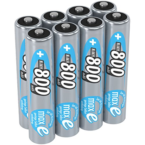 ANSMANN maxE AAA Rechargeable Batteries 800mAh Low Self Discharge (LSD) NiMH AAA Battery pre-charged for remote, phone etc. (8-Pack)