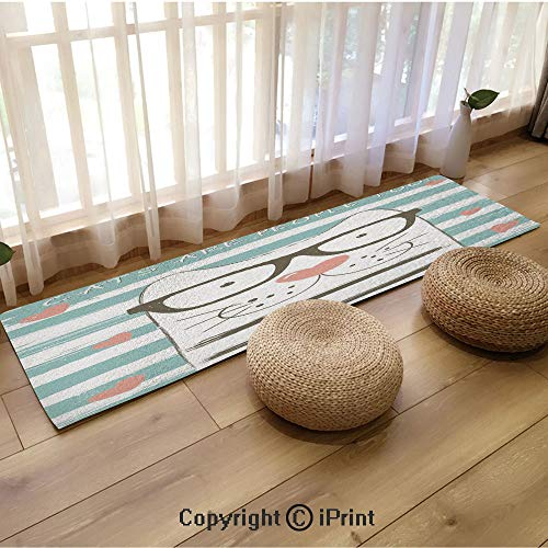 Long Printed Carpet,Hipster Cartoon Cat with Glasses Hearts and Stripes and Quotation Art White Blue and Pink,18