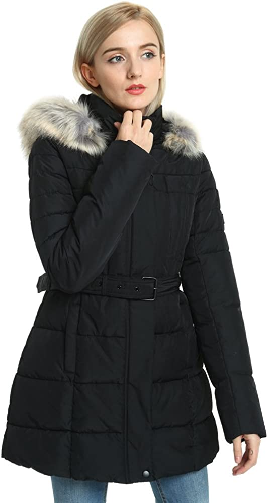 SECOND COLOR Thick Puffer Jacket Ladies, Padded Down Alternative Belt Long Parka Fur Hood