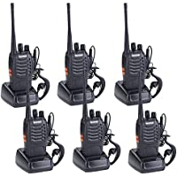 Treemoo BF-888S Rechargeable Two-Way Radio Long-Range Walkie Talkie Built-In LED Flashlight Lithium-Ion Battery with Headphone Microphone (Pack of 6 )