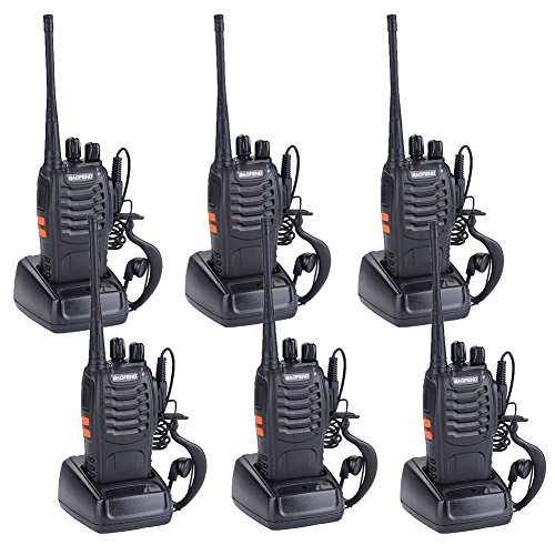 Lithium Ion Wireless Headset (Treemoo BF-888S Two-Way Wireless Walkie-Talkie with Rechargeable Lithium-Ion Battery Headset Built-In LED Flashlight(Pack of 6))
