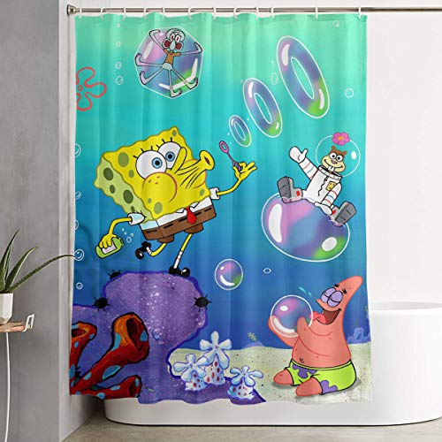 - LIUYAN Shower Curtain with Hook - Spongebob Squarepants Waterproof Polyester Fabric Bathroom Decor 60 X 72 Inches