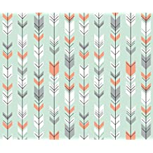 Fletching Arrows Fabric - Fletching Arrows Coral/Grey/White on Mint by littlearrowdesign - Fletching Arrows Fabric with Spoonflower - Printed on Organic Cotton Sateen Fabric by the Yard