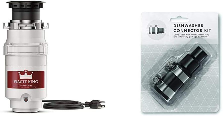 Waste King L-1001 Garbage Disposal with Power Cord, 1/2 HP & Garbage Disposal Dishwasher Connector Kit - 1023