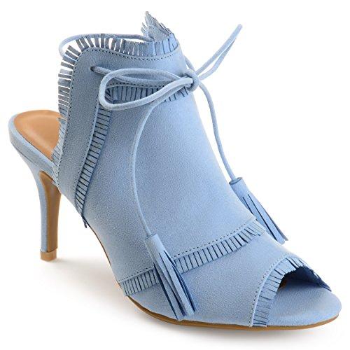 Journee Collection Womens Fringe Tassle Faux Suede High Heels Blue, 7 Regular US