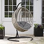 Resin Wicker Kambree Rib Breezy Driftwood Finish Hanging Egg Chair with Cushion and Stand