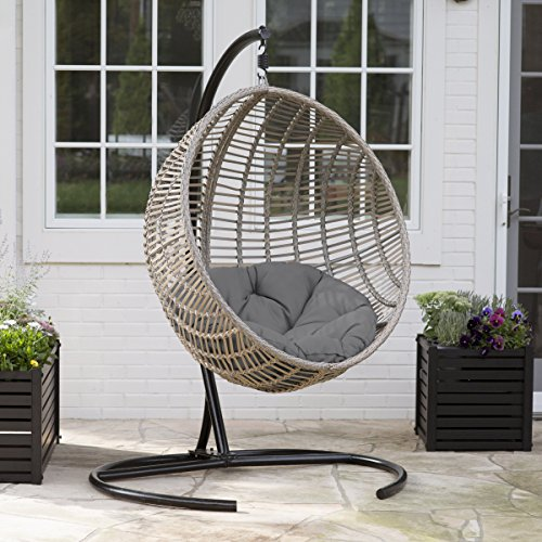 Boho-chic-style Resin Wicker Kambree Rib Hanging Egg Chair with Cushion and Stand in Driftwood Finish (Outdoor Wicker Egg Chair)