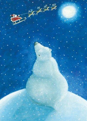 (Polar Bear and Santa's Sleigh Boxed Holiday Cards)