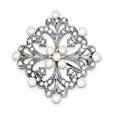 Sterling Silver Rhodium-plated Freshwater Cultured Pearl and Cubic Zirconia Pin