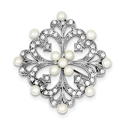JewelryWeb Sterling Silver Rhodium-plated Freshwater Cultured Pearl and Cubic Zirconia (14k Gemstone Brooch)