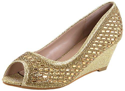 Bella Marie Donna Elegante Strass Impreziosito Glitter Peep Toe Sandalo Con Zeppa In Oro