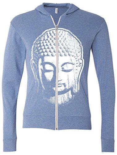 Mens BIG BUDDHA HEAD Full-Zip Hoodie, Large Blue (Big Head Zip)