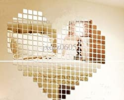 Naveed Arts Acrylic 3D Wall Decor For Home And Office 2Mm Thick Mosaic Square Silver Mirror