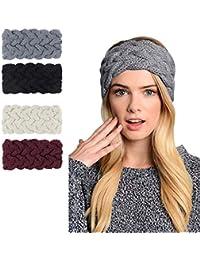 e433df23f03 Womens Winter Knitted Headband - Soft Crochet Bow Twist Hair Band Turban  Headwrap Hat Cap Ear