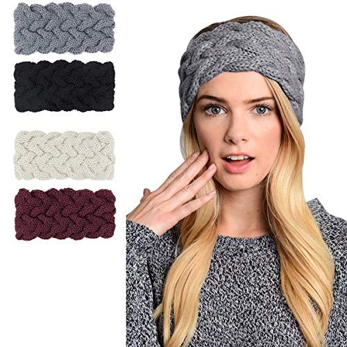 Womens Winter Knitted Headband - Soft Crochet Bow Twist Hair Band Turban Headwrap Hat Cap Ear Warmer,4Pack,Black+white+gray+wine red,One size