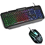 #3: Hhusali Mechanical Feeling Rainbow LED Backlit Gaming Keyboard & Mouse Combo