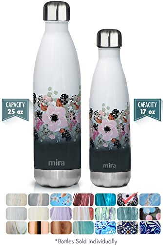 MIRA Stainless Steel Vacuum Insulated Travel Water Bottle   Leak-proof Double Walled Cola Shape Sports Water Bottle   No Sweating, Keeps Your Drink Hot & Cold   25 oz (750 ml)   Peonies by MIRA Brands