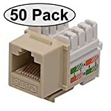 Cat6 RJ45 Modular Keystone Jack, 110 Style, Ivory - Box of 50