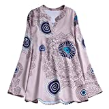 Zainafacai Women's Printed Button Top Long Sleeve V Neck Pleated Casual Tunic Loose Floral Blouse Shirt