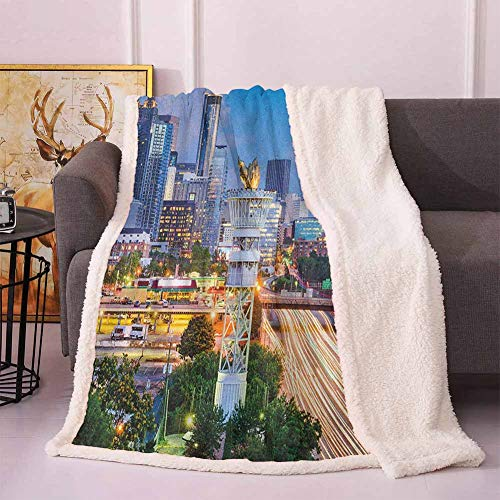 United States Thick Blanket Atlanta Georgia Urban Busy Town with Skyscrapers City Landscape Couch Blanket Pale Blue Yellow Coral 60