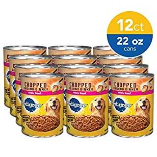 PEDIGREE Adult Canned Wet Dog Food Chopped Ground Dinner with Beef, (12) 22 oz. Cans