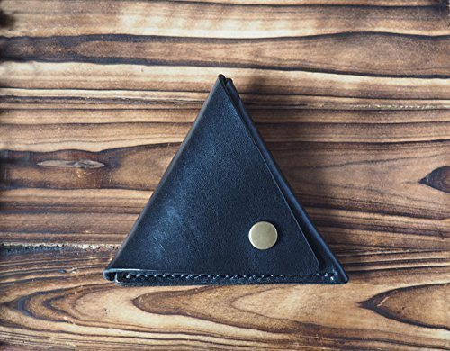 Leather Coin Pouch - triangle coin purse handmade, Coin Case, Wallet #Black
