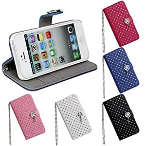 iPhone 5S Case, WKell Luxury Diamond Bling Wallet PU Leather Case Cover for iPhone 5/5S(Assorted Colors),White