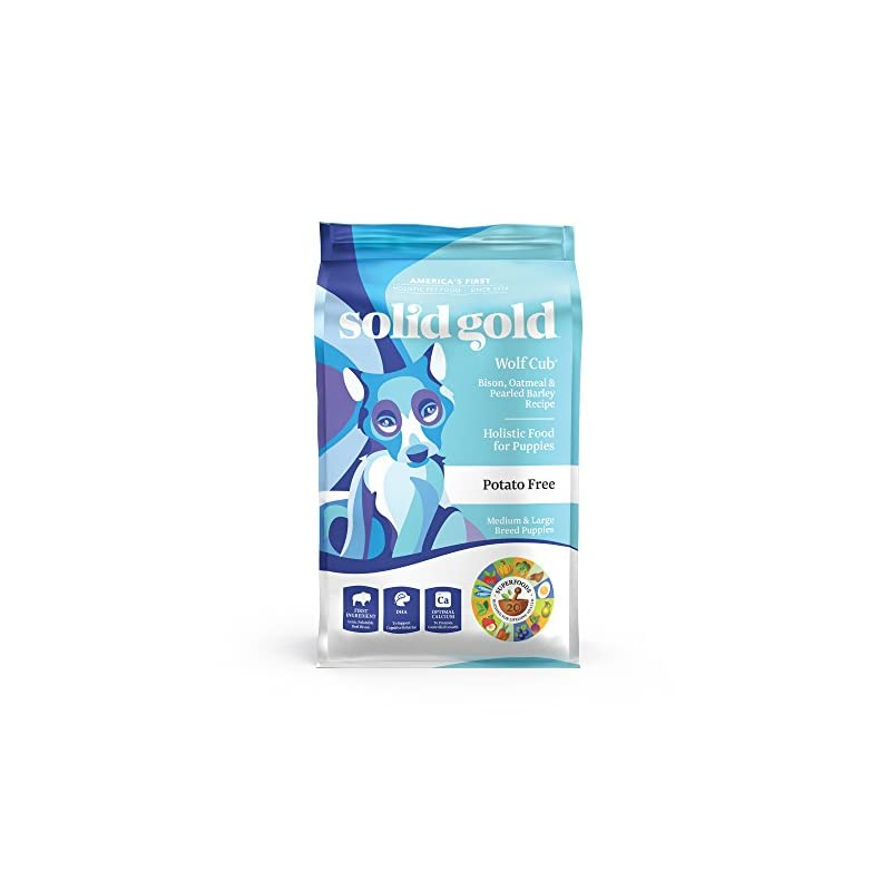 dog supplies online solid gold - wolf cub - natural large breed puppy food - real bison and oatmeal - potato free - 24 lb