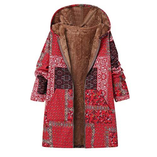 iFOMO Plus Size Jacket Winter Warm Coat Full Zip Velvet Jacket for Women Red-2 US XL/CN 2XL